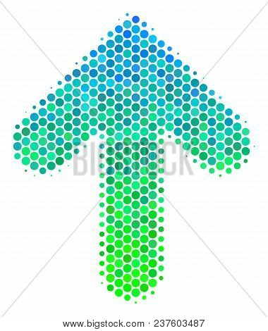 Halftone Round Spot Arrow Direction Icon. Pictogram In Green And Blue Color Hues On A White Backgrou