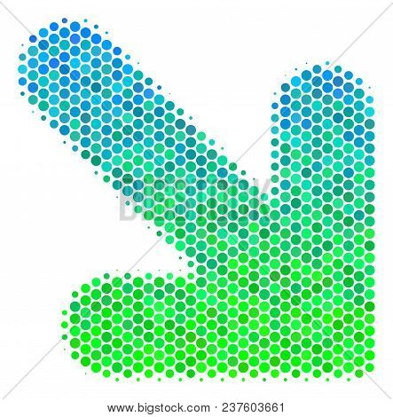 Halftone Round Spot Arrow Down Right Pictogram. Pictogram In Green And Blue Color Tinges On A White