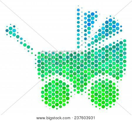 Halftone Circle Baby Carriage Icon. Pictogram In Green And Blue Color Tints On A White Background. V