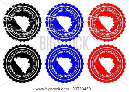 Bosnia And Herzegovina - Rubber Stamp - Vector, Bosnia And Herzegovina Map Pattern - Sticker - Black