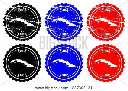 Cuba - Rubber Stamp - Vector, Cuba Map Pattern - Sticker - Black, Blue And Red