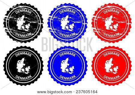 Denmark - Rubber Stamp - Vector, Denmark Map Pattern - Sticker - Black, Blue And Red