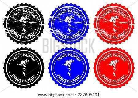 Faroe Islands - Rubber Stamp - Vector, Faroe Islands Map Pattern - Sticker - Black, Blue And Red