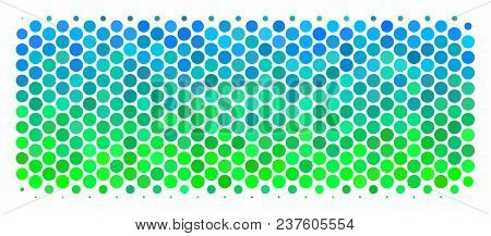 Halftone Circle Building Brick Icon. Icon In Green And Blue Shades On A White Background. Vector Col