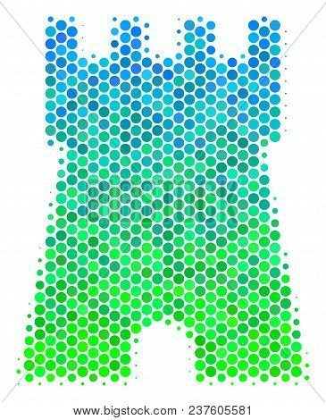 Halftone Round Spot Bulwark Tower Icon. Icon In Green And Blue Color Tinges On A White Background. V