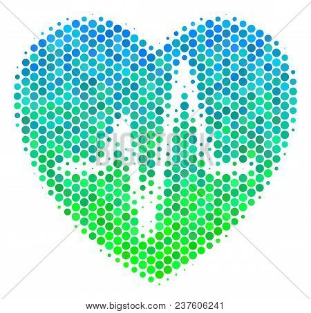 Halftone Dot Cardiology Pictogram. Icon In Green And Blue Color Tinges On A White Background. Vector