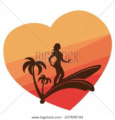 Graphic Design With Sihouette Of Young Woman Surfing On Surf Board. Colorful Sunset On Background. D