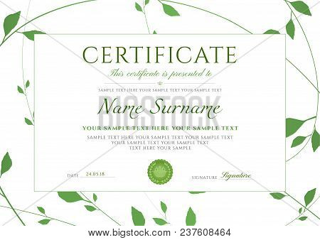 Certificate Of Completion Template With Green Floral Pattern Frame (leaves). Design Useful For Diplo