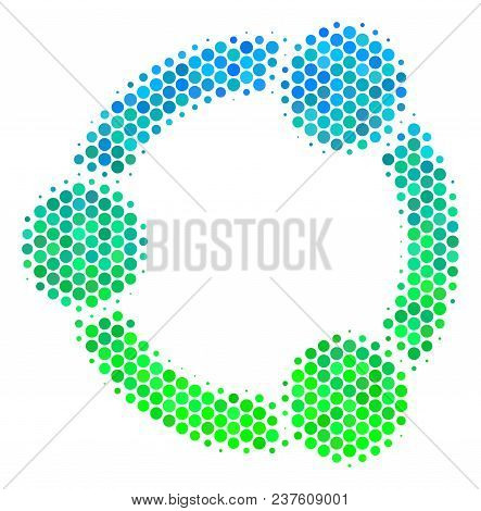 Halftone Round Spot Cooperation Icon. Pictogram In Green And Blue Color Tints On A White Background.