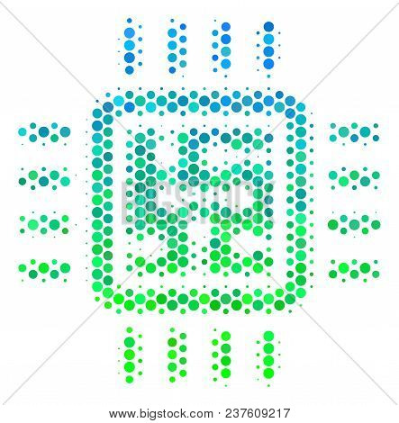 Halftone Round Spot Cpu Circuit Icon. Icon In Green And Blue Shades On A White Background. Vector Pa