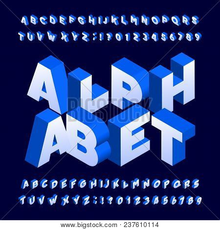 Isometric Alphabet Font. Three-dimensional Effect Bold Letters And Numbers. Stock Vector Typeface Fo