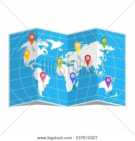 White World Map On A Blue Background. Color Location Pin. Flat Vector Cartoon Illustration.