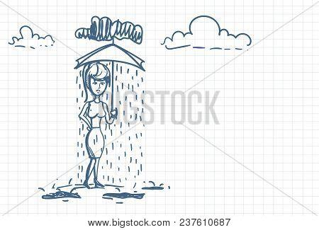 Desperate Businesswoman Under Rain Holding Umbrella Doodle Over Squared Paper Background Vector Illu