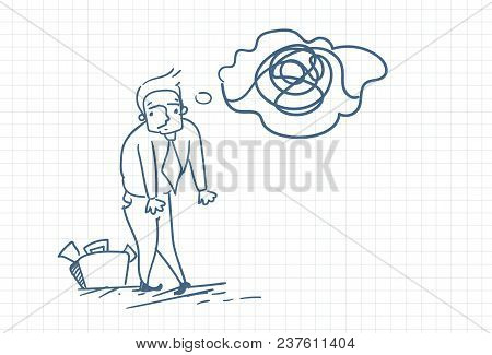 Business Man Doodle With Confused Thoughts Over Squared Background Vector Illustration