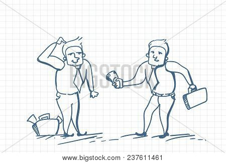 Doodle Business Man Giving Money To Worker Paying Over Squared Background Vector Illustration
