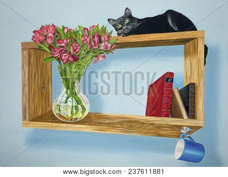 Original Oil On Canvas Painting Depicting A Black Cat On An Impossible Surreal Shelf