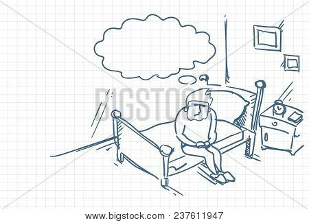 Sketch Man Waking Up Sit On Bed In Morning Doodle Over Squared Background Vector Illustration