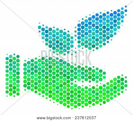 Halftone Circle Eco Startup Hand Pictogram. Pictogram In Green And Blue Color Hues On A White Backgr