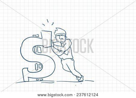 Sketch Business Man Standing At Big Dollar Sign Money Wealth Concept Doodle Over Squared Paper Backg