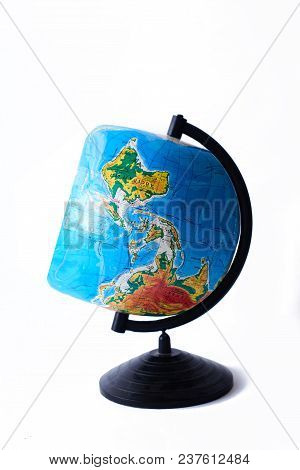 A Square Globe On A White Background. Isolate Conceptual.