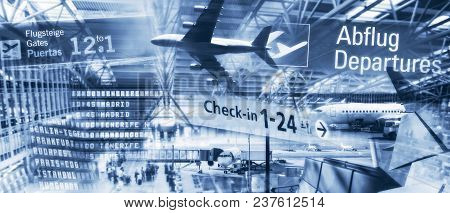 Airplanes And Architecture With Information Boards At Airports