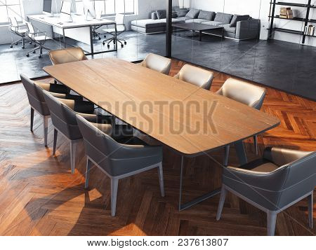 Modern Office Meeting Room With Transparent Glass Walls, Wooden Light Brown Table, Grey Chairs And W