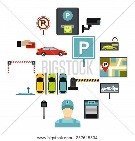 Flat Car Parking Icons Set. Universal Car Parking Icons To Use For Web And Mobile Ui, Set Of Basic C