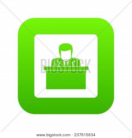 Orator Speaking From Tribune Icon Digital Green For Any Design Isolated On White Vector Illustration