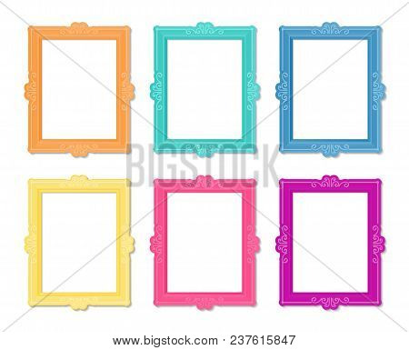 Decorative Vector Template Frame. This Photo Frame You Can Use For Kids Picture Or Memories. Scrapbo