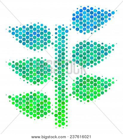 Halftone Dot Flora Plant Pictogram. Icon In Green And Blue Color Hues On A White Background. Vector
