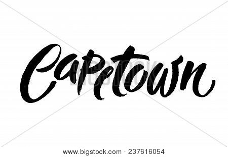 Brush Black Ink Hand Lettering Isolated On White Background Inscription Capetown For Postcard, Poste