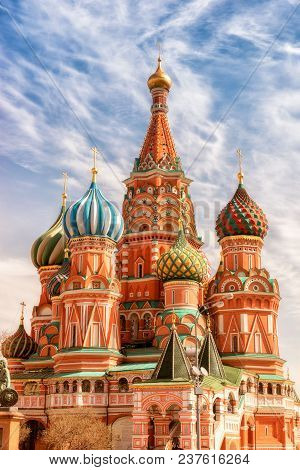 St. Basil Cathedral, Red Square, Moscow, Sunny Day