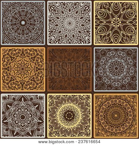 Colorful Floral Seamless Pattern From Squares With Mandala In Patchwork Boho Chic Style, In Portugue