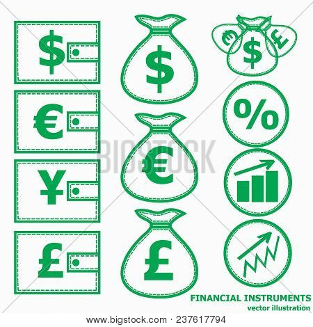 Financial Instruments For Saving Money. Vector Illustration.