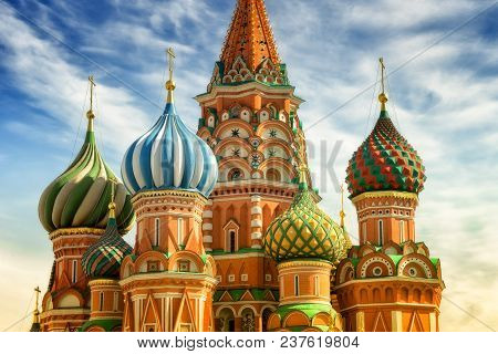 St. Basil Cathedral, Red Square, Moscow, Close Up View On Cupola At The Sunny Day