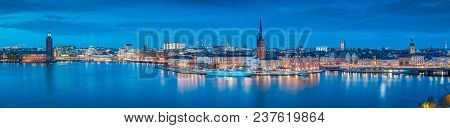 Panoramic View Of Famous Stockholm City Center With Historic Riddarholmen In Gamla Stan Old Town  An