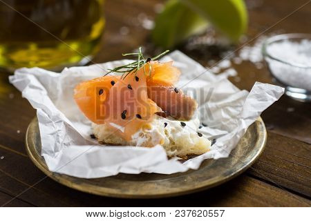 Smoked Salmon Canape With Cream Cheese, Fresh Dill And Black Sesame. Finger Food.