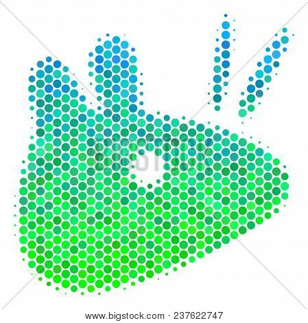 Halftone Round Spot Mouse Head Icon. Pictogram In Green And Blue Color Tinges On A White Background.