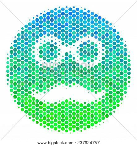 Halftone Dot Pension Smiley Pictogram. Pictogram In Green And Blue Color Hues On A White Background.