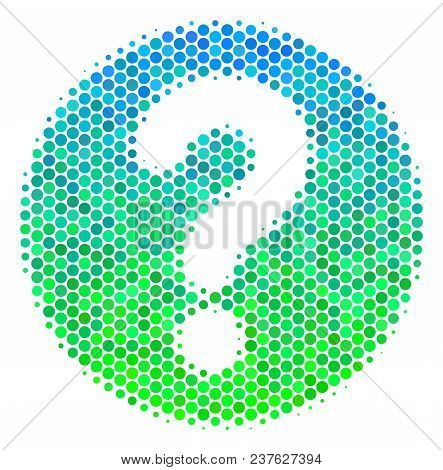 Halftone Round Spot Query Icon. Pictogram In Green And Blue Shades On A White Background. Vector Con