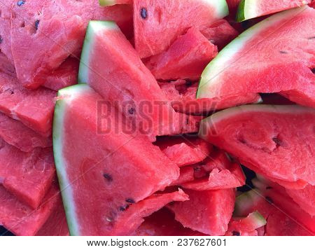 Texture Of Several Fresh Slices Of Watermelon
