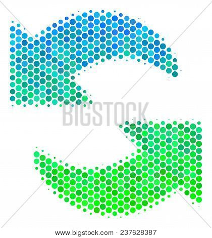 Halftone Circle Refresh Icon. Icon In Green And Blue Color Tones On A White Background. Vector Colla