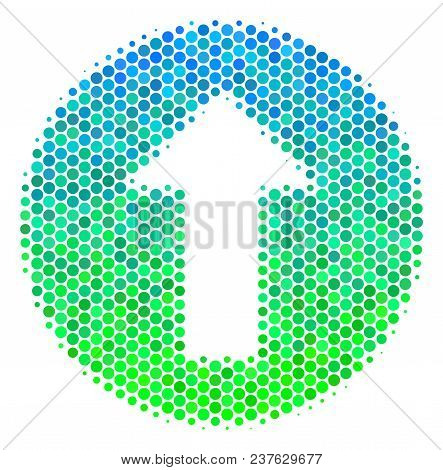 Halftone Round Spot Rounded Arrow Icon. Icon In Green And Blue Color Hues On A White Background. Vec