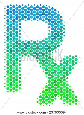 Halftone Dot Rx Symbol Icon. Pictogram In Green And Blue Color Tinges On A White Background. Vector