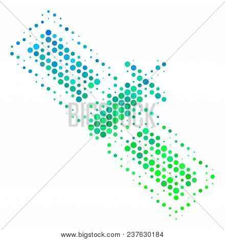 Halftone Dot Satellite Icon. Pictogram In Green And Blue Color Hues On A White Background. Vector Co