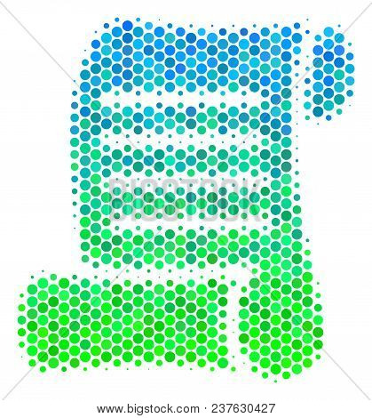 Halftone Dot Script Roll Pictogram. Pictogram In Green And Blue Color Tints On A White Background. V