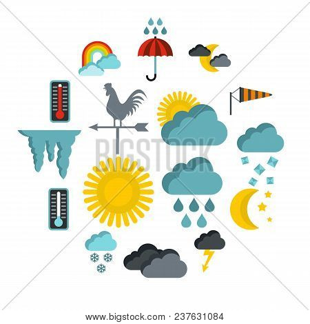 Flat Weather Icons Set. Universal Weather Icons To Use For Web And Mobile Ui, Set Of Basic Weather E