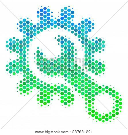 Halftone Dot Service Tools Pictogram. Icon In Green And Blue Color Hues On A White Background. Vecto