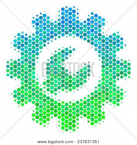 Halftone Dot Service Tools Icon. Icon In Green And Blue Color Tints On A White Background. Vector Co