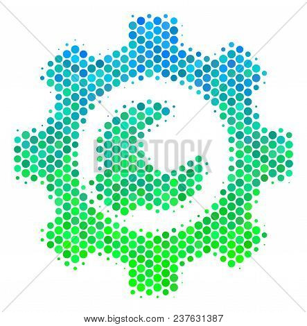 Halftone Round Spot Service Tools Icon. Icon In Green And Blue Color Tinges On A White Background. V